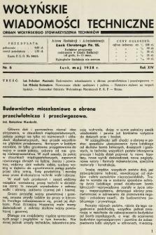 Wołyńskie Wiadomości Techniczne : organ Wołyńskiego Stowarzyszenia Techników. 1938, nr5