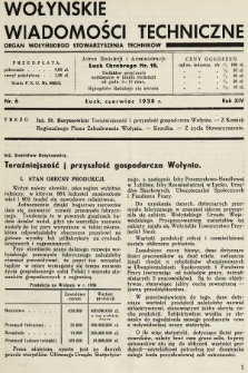 Wołyńskie Wiadomości Techniczne : organ Wołyńskiego Stowarzyszenia Techników. 1938, nr6