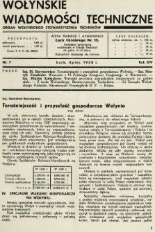 Wołyńskie Wiadomości Techniczne : organ Wołyńskiego Stowarzyszenia Techników. 1938, nr7