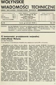 Wołyńskie Wiadomości Techniczne : organ Wołyńskiego Stowarzyszenia Techników. 1938, nr12