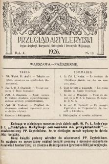 Przegląd Artyleryjski : organ artylerii, marynarki, uzbrojenia i przemysłu wojennego. 1926, nr10