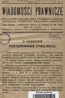 Wiadomości Prawnicze : wydawnictwo Księgarni Leona Frommera w Krakowie : miesięcznik poświęcony bibliografji prawniczej. 1931, nr2
