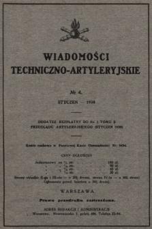 Wiadomości Techniczno-Artyleryjskie : dodatek bezpłatny do nr 1 tomu X Przeglądu Artyleryjskiego (styczeń 1930), nr 4