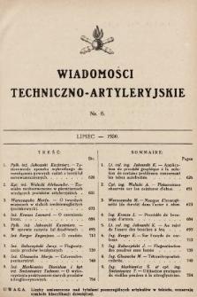 Wiadomości Techniczno-Artyleryjskie. 1930, nr6
