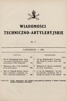 Wiadomości Techniczno-Artyleryjskie. 1930, nr7
