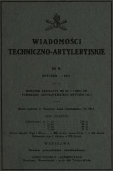 Wiadomości Techniczno-Artyleryjskie : dodatek bezpłatny do nr 1 tomu XII Przeglądu Artyleryjskiego (styczeń 1931), nr 8