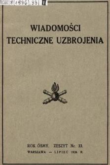 """Wiadomości Techniczne Uzbrojenia : dodatek kwartalny do zeszytu 7-go """"Przeglądu Artyleryjskiego"""". 1936, nr 33"""