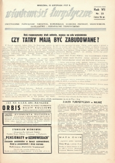 Wiadomości Turystyczne : dwutygodnik poświęcony turystyce, komunikacji, ochronie przyrody, uzdrowiskom, hotelarstwu i przemysłowi turystycznemu. 1937, nr22
