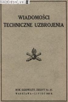 """Wiadomości Techniczne Uzbrojenia : dodatek kwartalny do zeszytu 7-go """"Przeglądu Artyleryjskiego"""" wydawany przez Departament Uzbrojenia M. S. Wojsk. 1937, nr 37"""