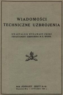 Wiadomości Techniczne Uzbrojenia : kwartalnik wydawany przez Departament Uzbrojenia M. S. Wojsk. 1939, nr 43