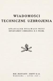 Wiadomości Techniczne Uzbrojenia : kwartalnik wydawany przez Departament Uzbrojenia M. S. Wojsk. 1939, nr 45