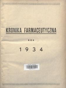 Kronika Farmaceutyczna : organ Związku Zawodowego Farmaceutów-Pracowników w Rzeczypospolitej Polskiej. 1934, Spis rzeczy
