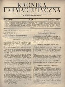 Kronika Farmaceutyczna : organ Związku Zawodowego Farmaceutów-Pracowników w Rzeczypospolitej Polskiej. 1934, nr15-16
