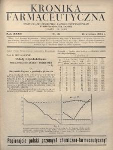 Kronika Farmaceutyczna : organ Związku Zawodowego Farmaceutów-Pracowników w Rzeczypospolitej Polskiej. 1934, nr18