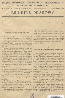 Biuletyn Prasowy. 1938, nr1