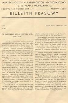 Biuletyn Prasowy. 1938, nr10