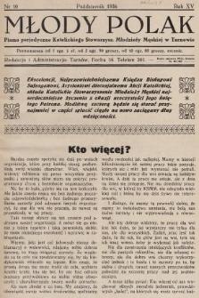 Młody Polak : pismo perjodyczne Katolickiego Stowarzysz. Młodzieży Męskiej w Tarnowie. 1936, nr10