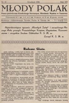 Młody Polak : pismo perjodyczne Katolickiego Stowarzysz. Młodzieży Męskiej w Tarnowie. 1936, nr12