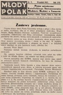 Młody Polak : pismo miesięczne Katolickiego Stowarzyszenia Młodzieży Męskiej w Tarnowie. 1937, nr9