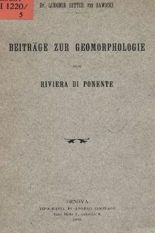 Beiträge zur Geomorphologie der Riviera di Ponente