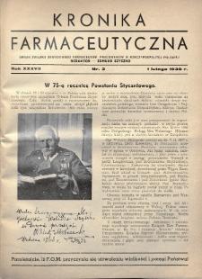 Kronika Farmaceutyczna : organ Związku Zawodowego Farmaceutów-Pracowników w Rzeczypospolitej Polskiej. 1938, nr3
