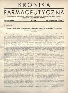 Kronika Farmaceutyczna : organ Związku Zawodowego Farmaceutów-Pracowników w Rzeczypospolitej Polskiej. 1938, nr18