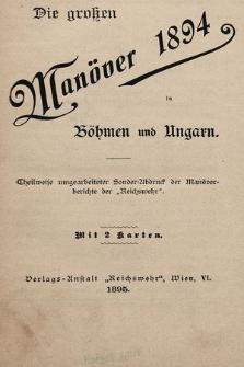 Die grossen Manöver 1894 in Böhmen und Ungarn