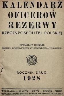 Kalendarz oficerów rezerwy Rzeczypospolitej Polskiej : oficjalny rocznik Związku Oficerów Rezerwy Rzeczypospolitej Polskiej