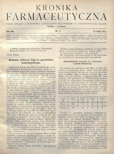 Kronika Farmaceutyczna : organ Związku Zawodowego Farmaceutów-Pracowników w Rzeczypospolitej Polskiej. 1931, nr4