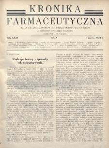 Kronika Farmaceutyczna : organ Związku Zawodowego Farmaceutów-Pracowników w Rzeczypospolitej Polskiej. 1932, nr5