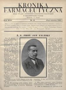Kronika Farmaceutyczna : organ Związku Zawodowego Farmaceutów-Pracowników w Rzeczypospolitej Polskiej. 1932, nr18