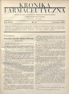 Kronika Farmaceutyczna : organ Związku Zawodowego Farmaceutów-Pracowników w Rzeczypospolitej Polskiej. 1932, nr21
