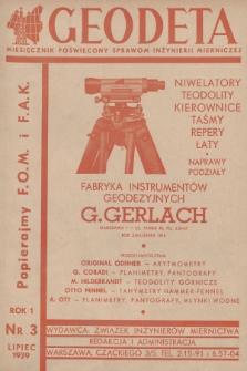 Geodeta : miesięcznik poświęcony sprawom inżynierii mierniczej. 1939, nr 3