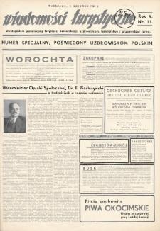 Wiadomości Turystyczne : dwutygodnik poświęcony turystyce, komunikacji, uzdrowiskom, hotelarstwu i przemysłowi turyst. R. 5, 1935, nr11