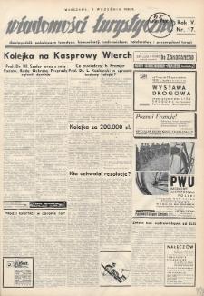 Wiadomości Turystyczne : dwutygodnik poświęcony turystyce, komunikacji, uzdrowiskom, hotelarstwu i przemysłowi turyst. R. 5, 1935, nr17