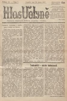 Hlas Volyně : týdeník, věnovaný českým zájmům v Polsku. 1937, č.7