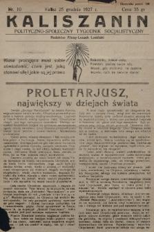 Kaliszanin : polityczno-społeczny tygodnik socjalistyczny. 1927, nr10