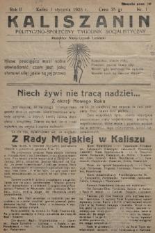 Kaliszanin : polityczno-społeczny tygodnik socjalistyczny. 1928, nr1