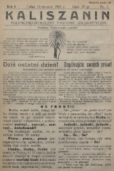 Kaliszanin : polityczno-społeczny tygodnik socjalistyczny. 1928, nr3