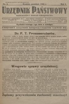 Urzędnik Państwowy : niezależny organ urzędniczy. 1926, nr3