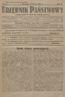 Urzędnik Państwowy : niezależny organ urzędniczy. 1927, nr1