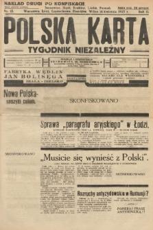Polska Karta : tygodnik niezależny. 1935, nr15 (nakład drugi po konfiskacie)
