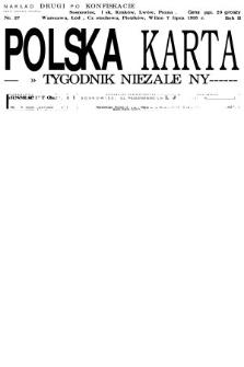 Polska Karta : tygodnik niezależny. 1935, nr27 (nakład drugi po konfiskacie)