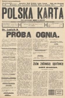 Polska Karta : tygodnik niezależny. 1935, nr37 (nakład drugi po konfiskacie)