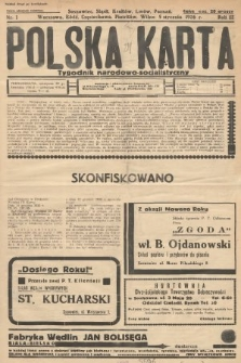Polska Karta : tygodnik narodowo-socjalistyczny. 1936, nr1 (nakład drugi po konfiskacie)
