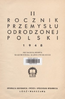 Rocznik Przemysłu Odrodzonej Polski. 1948