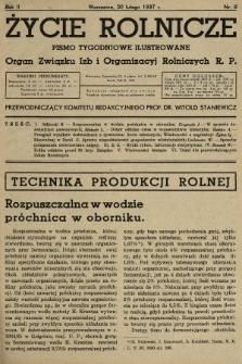 Życie Rolnicze : pismo tygodniowe ilustrowane : organ Związku Izb i Organizacyj Rolniczych R.P. 1937, nr8
