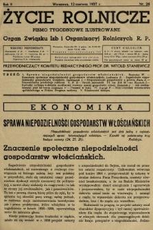 Życie Rolnicze : pismo tygodniowe ilustrowane : organ Związku Izb i Organizacyj Rolniczych R.P. 1937, nr24