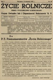 Życie Rolnicze : pismo tygodniowe ilustrowane : organ Związku Izb i Organizacyj Rolniczych R.P. 1937, nr46