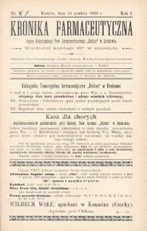 """Kronika Farmaceutyczna : organ Galicyjskiego Tow. Farmaceutycznego """"Unitas"""" w Krakowie. 1898, nr9"""